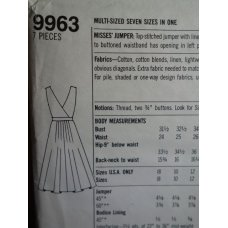 Simplicity Sewing Pattern 9963